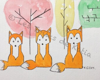 3 foxes, illustration watercolor postcard size 10 x 15
