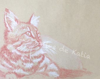 The cat. Red and white pastel on Kraft paper. A5 size