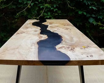 SOLD Black river table with epoxy inlay SOLD
