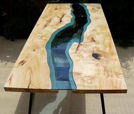 sold live edge river table with with epoxy inlay sold. Black Bedroom Furniture Sets. Home Design Ideas