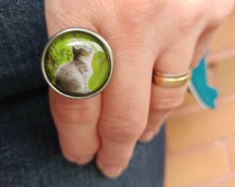 Pewter ring, hypoallergenic ring, cat ring, cat cabochon, cat, adjustable ring, Les Aristopattes