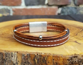 Men brown leather cuff