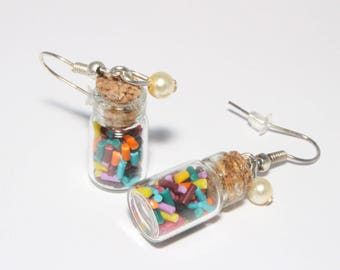 Vials colorful sprinkles, polymer clay food jewelry earrings