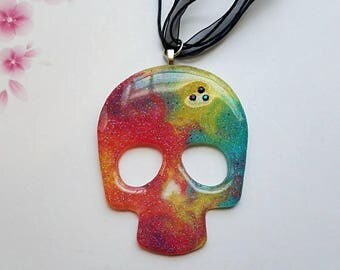 Rainbow Galaxy Skull Necklace Pendant with Rhinestones