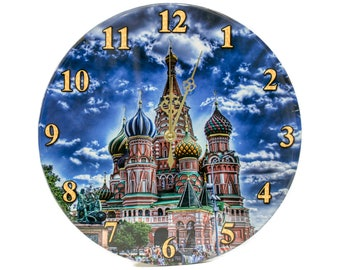 """Wall Clock - """"Moscow at evening"""" - Epoxy Glossy Covering"""