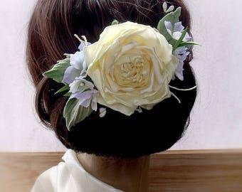 Wedding Hair Accessories,Hairpin floral, yellow flowers, roses hair,Wedding Fascinator, Bridal Hair Clip, Flower Hair Clip