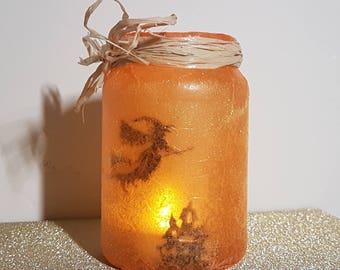 Halloween Flying Witch Lantern - Night Light - Fairy lights - Magical & Mystical - Upcycled Jar - Room Lighting