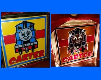 Personalized 8x8 Thomas The Train lighted glass block