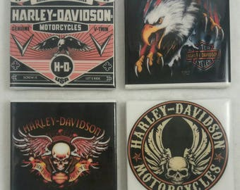 Harley Davidson Coasters/ Man Cave Coasters/ Man Cave Decor/ Father's Day Gift/ Coasters/ Custom Coasters/ Personalized Coasters/