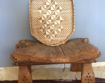 vintage hand made, wicker and straw serving tray, imperfect bohemian style, geometric design