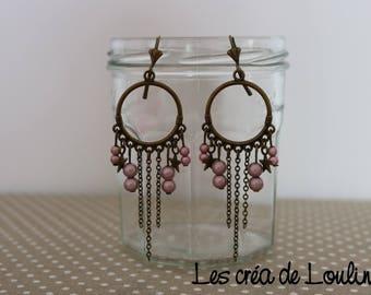 Pink bronze hoop earrings