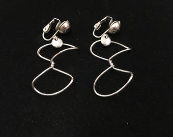Vintage Clip Earrings, Silvertone, Wire Abstract
