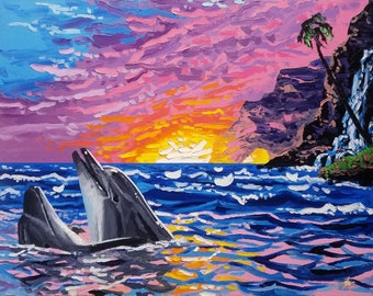 Marine life painting, large wall art, seascape artwork, knife oil painting, canvas painting sunset, by Ryan Kimba