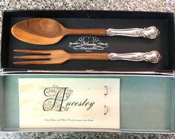"Vintage ""Ancestry"" Web Sterling & Olive Wood Salad Serving Set"