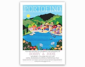 Portofino, Italian Riviera Destination Invites - Single sided with envelopes. Mediterranean wedding, Italian wedding invitations. Blue, sea