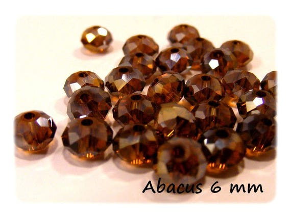 Abacus faceted colored Smocked Topaz 25 x 6 mm Czech Crystal beads