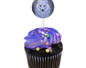 White Dire Wolf Cake Cupcake Toppers Picks Set