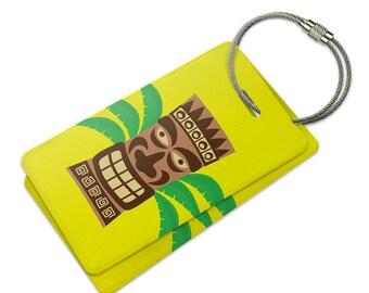 Tropical Tiki Head Suitcase Bag Id Luggage Tag Set