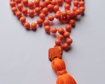 Long Knotted Mala Necklace with Cotton Tassel and Ceramic Elephant Guru Bead for Yoga & Meditation