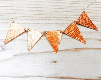 Copper bunting necklace, bunting necklace,copper triangle necklace, textured copper flag necklace, geometric triangle necklace,