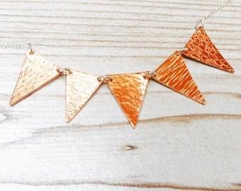 Copper bunting necklace, bunting necklace,copper triangle necklace, textured copper flag necklace, geometric triangle necklace,