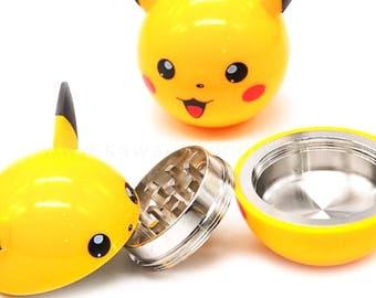 Pickachu Zinc Alloy Plastic Garlic Pokemon Pika Herb Grinder Ball Weed Pokeball Aroma 3 Layer Pollen Catcher Gift Box for Holiday
