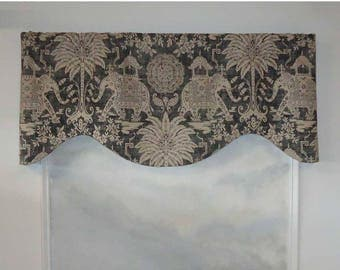 Oriental Elephant and Palm Valance in Charcoal
