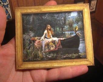 MINIATURE picture frame art . The Lady of Shalott . J. William Waterhouse . DIY . Easy video tutorial . Print Download  1:12