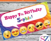 "18""x30"" Emoji Theme Personalized Party Banner 