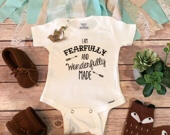 Baby Gift, I Am Fearfully and Wonderfully Made Onesie®, Baby Boy Clothes, Cute Baby Onesies, Take Home Outfit,Religious Gifts,Christian Baby