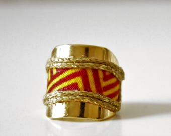Gold/wax adjustable brass ring