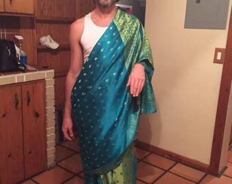 bridal sari teal and gold