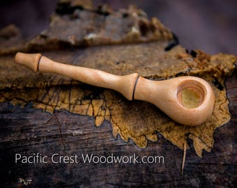 Sleek Slender, wood pipe, Curly Maple, pipe, unique pipe, small wood pipe, stash pipe, smoking pipe