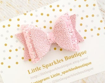 Pink hair bow, pink glitter hair bow, baby/girl hair bow, wedding hair, christening