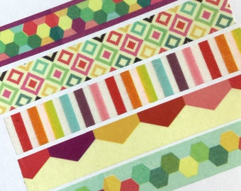Washi Tape - Rainbow, Dots, Deco, Diamonds - For Planners, Scrapbooks, Crafts