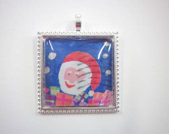 father christmas necklace - santa jewellery - used postage stamp - quirky xmas - square pendant - santa clause - illustrative jewellery