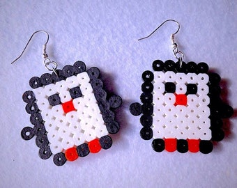 Earrings with penguins in hama beads