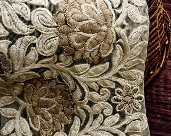 Elegant Embroidery Lace Trim, Fancy Lace, Bridal Lace Trim, Wedding Lace, Vintage Lace Trim, Fawn Embroidery Lace