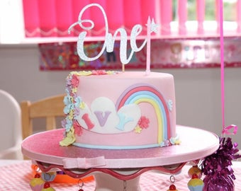 Sparkly glitter card number ONE birthday cake topper / available in pink / silver / blue and gold