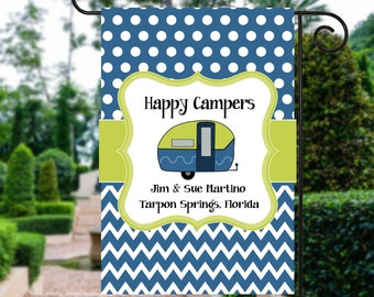 Happy Campers Flag | Camping Sign | Camp Flag | Camping Gift | Personalized Camping | Camper Decor  | Camping Signs | Camp Site Flag
