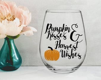 Pumpkin Kisses and Harvest Wishes - 21 oz STEMLESS WINE GLASS - girlfriend gift, thanksgiving gift, mom gift, housewarming gift, fall gift