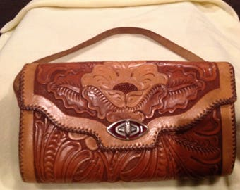 """Gorgeous vintage hand tooled floral leather purse """"Miami Florida """""""