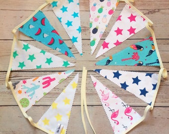 Tropical Party Bunting, Double Sided Luxury Pennants, Housewarming Decor, Vacation Home Decor, Christmas Bunting 1.9m/2.5m long