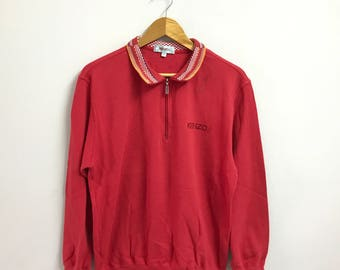Rare!Vintage KENZO JEANS Sweatshirt Spellout Embroidery Small Logo Pullover Jumper Red colour 4 size(B1)