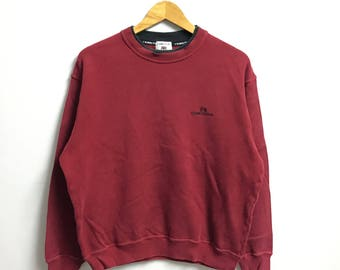 Rare!!Vintage CERRUTI SPORT Sweatshirt Small Logo Embroidery PullOver Jumper red  Colour large size (B3)