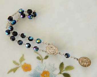 Vintage Catholic Chaplet of St. Anne de Beaupre, AB Glass Beads & Silvered Brass Components