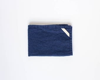 two linen kitchen towels / hand towels / great for travel / navy, natural or grey