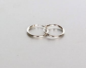 12mm Silver Hoops, 12mm Hoop Earrings, Sterling Silver Cartilage Rings, Body Jewelry, Unisex Hoops, Round Ear Hoops, Navel Hoops, (SES17)