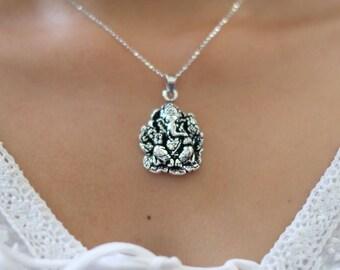 Silver Ganesh Pendant, Religious Pendant, Bohemian Pendant, Silver Charm Necklace, Silver Pendant, Silver necklace, Gift Necklace,(P117)
