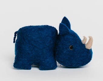 Rhino, Blue Rhino, Little Blue Rhino, Felted Rhino Ornament, Christmas Safari Animal Ornament, Safari Rhino, Fair-Trade Rhino Ornament
